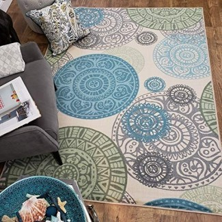 Maxy Home Adaline Medallion Pila de corte suave, antideslizante Nueva alfombra de área de tendencia, marfil