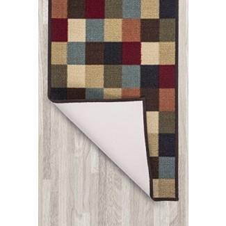 Ottomanson Otto Home Collection Diseño moderno de hojas Alfombra moderna de corredor con respaldo de goma antideslizante (antideslizante)