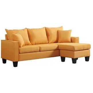 Divano Roma Muebles moderno de tela de lino Sofá seccional de espacio pequeño con chaise reversible