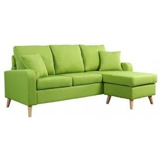 Divano Roma Furniture Mid Century de tela de lino moderno con espacio pequeño Sofá seccional con chaise reversible