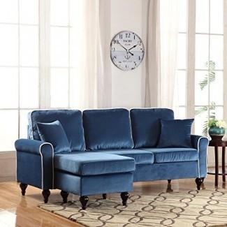 Divano Roma Furniture Classic y tradicional Sofá seccional de terciopelo para espacios pequeños con chaise reversible