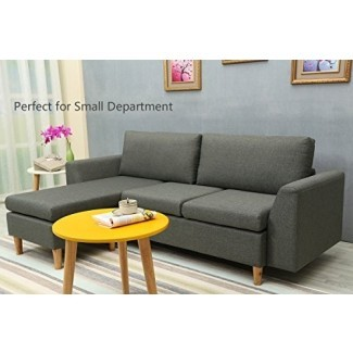 Sofá seccional, sofá seccional en forma de L con chaise reversible, sofás y sofás con tela moderna de lino para pequeños Space (gris)