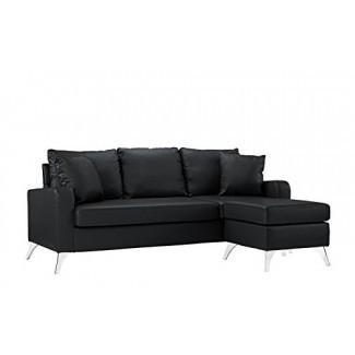 Sofá seccional de cuero unido de muebles Divano Roma - Sofá configurable para espacios pequeños