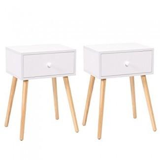 """LAZYMOON Furniture022 23.1 """"H Blanco Mid Century Mesita de noche con mesita de noche moderna Juego de 2 muebles para el hogar, mediano,"""
