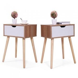 JAXPETY Juego de 2 mesitas de noche Mesas de noche de madera maciza con cajón de almacenamiento blanco (marrón)