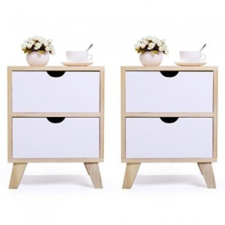 JAXPETY Juego de 2 mesitas de noche Patas de noche de madera maciza con cajón de almacenamiento blanco (color madera y blanco)