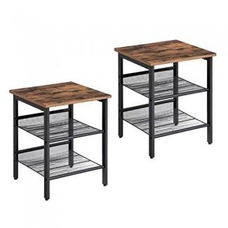 Mesita de noche industrial VASAGLE, juego de 2 mesas laterales, mesa auxiliar con estantes de malla ajustables, para sala de estar, dormitorio, marco de metal estable y fácil montaje ULET24X
