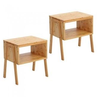 SONGMICS Juego de 2 mesitas de noche de bambú, mesita auxiliar, mesa consola de sofá de café con compartimento de almacenamiento frontal abierto, madera de bambú 100% resistente ULNT45N natural