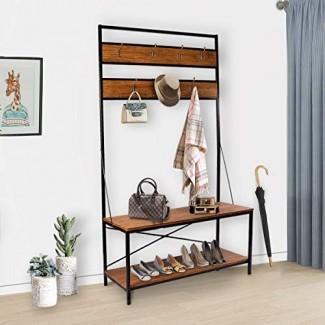 Perchero LASUAVY, banco de zapatos, perchero vintage, estante de entrada Hall Tree