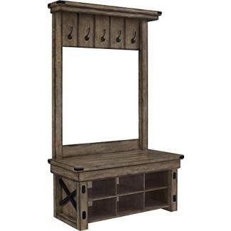 Ameriwood Home 5045096PCOM Chapa de madera de madera silvestre Árbol de pasillo de entrada con banco de almacenamiento, gris rústico