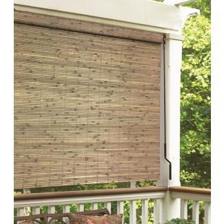 Sombra enrollable semibrillante de biela de bambú