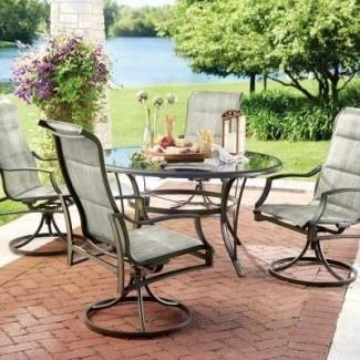 Statesville - Juego de comedor acolchado de 5 piezas para patio con honda y tapa de vidrio de 53 pulgadas