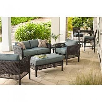 Juego de muebles de patio para exteriores Hampton Bay | Juego de asientos Fenton de 4 piezas para patio con cojín de patio Peacock Java