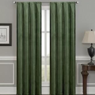 Bomar Luxury Velvet paneles de cortina de bolsillo de oscurecimiento térmico de color sólido con barra de oscilación (juego de 2)