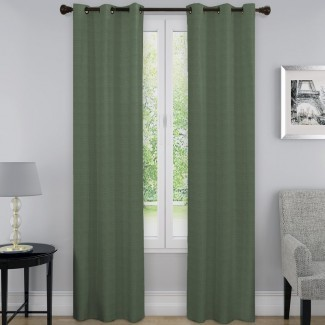 Panel cortina individual con arandela térmica opaca sólida Andover