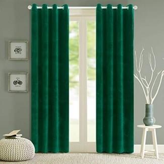 Cortinas de terciopelo opacas Cortinas de ojal macizo Verde oscuro Aislamiento térmico de 96 pulgadas para paneles de dormitorio 2 (W52 '' x L96 '', verde oscuro)