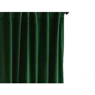 Cortina verde esmeralda, cortina de terciopelo de algodón, panel de cortina de terciopelo en verde, cortinas hechas a medida, cortinas de sala de estar, cortinas de dormitorio