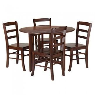 Winsome 3-Piece Alamo Round Drop Leaf Table con 2 sillas de respaldo con escalera