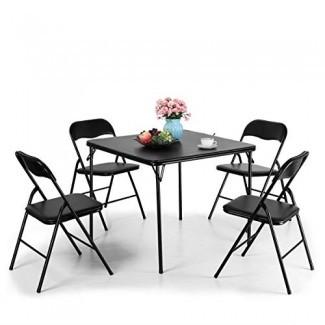 JAXPETY Juego de mesa y sillas plegables de 5 piezas Juego de mesa de juegos de cocina de usos múltiples Juego de mesa 1 Mesa 4 sillas con asiento acolchado, negro