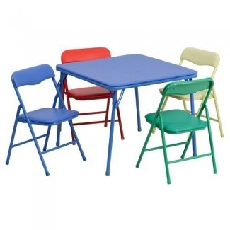 Flash Furniture Kids - Juego de mesa y silla plegable de 5 piezas, colorido (renovado)