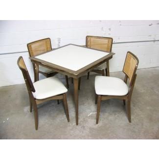 Juego de cartas vintage, Stakmore, mesa plegable y 4 sillas Juego de cartas