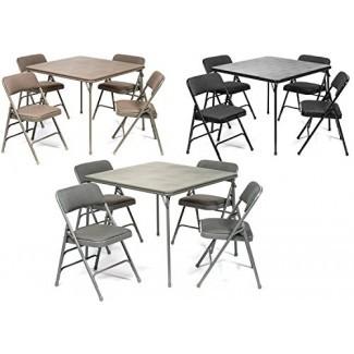Juego de mesa plegable y silla acolchada de tela de la serie XL (5 piezas) - Tapicería acolchada cómoda - Diseño plegable, almacenamiento rápido y portabilidad - Calidad superior