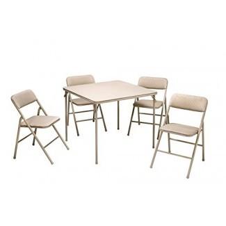 COSCO Juego de mesa y silla plegable de 5 piezas, tostado