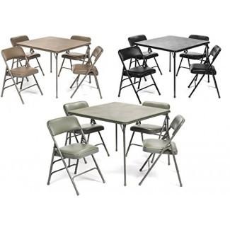 Juego de sillas de mesa plegables de vinilo de la serie XL (5 piezas) - Tapicería acolchada cómoda Limpieza fácil - Diseño plegable, fácil almacenamiento - Calidad superior, accesible en silla de ruedas