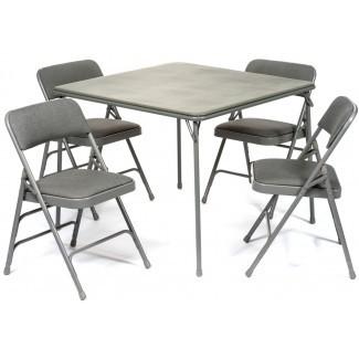Mesa plegable de 5 piezas de la serie XL y silla acolchada de tela