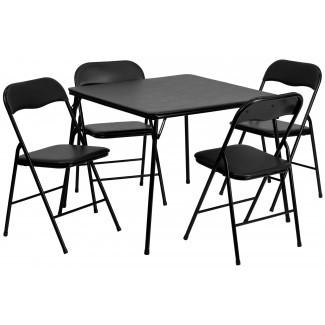 Juego de mesa y silla plegable negra de 5 piezas de