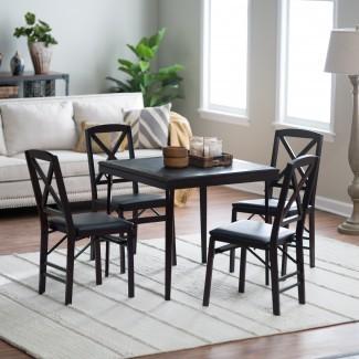 Mesa y sillas de tarjeta de madera