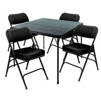 Heavy Duty - Juego de mesa con silla XL de 5 piezas y silla ultra acolchada