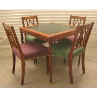 Mesa y sillas con tapa de cuero vintage
