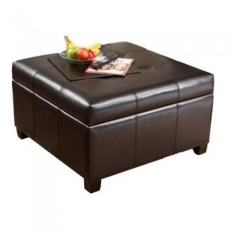 Los más vendidos | Otomana de almacenamiento | Mesa de centro | De forma cuadrada | Cuero regenerado de primera calidad en marrón espresso