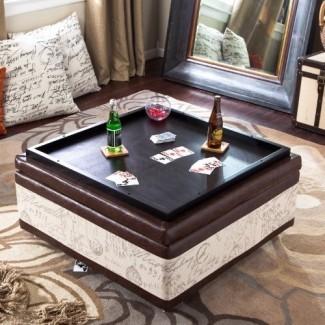 Otomana de almacenamiento de la mesa de centro de cuero y lino Corbett ...
