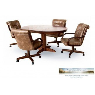 4 sillas de comedor con ruedas y sillas de madera maciza