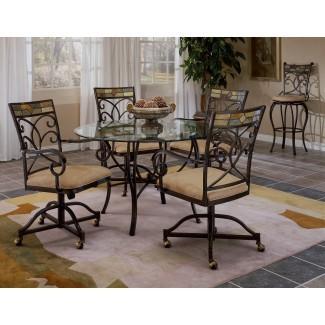 Mesa de cocina pequeña con sillas con ruedas - Classic Round ...