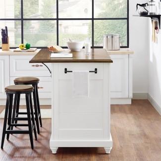 Dorel Muebles para el hogar Kelsey White Kitchen Island con 2 ...