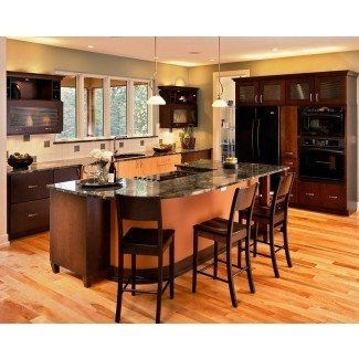 Isla negra de cocina con taburetes de barra | Kitcheniac