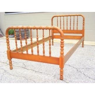 Carrete con eje BED de Jenny Lind, madera de reliquia antigua, tamaño doble