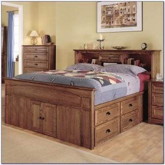 Cama de capitanes tamaño queen con cabecera para estantería - Dormitorio ...