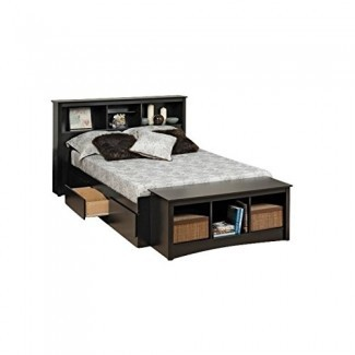Prepac Sonoma Bookcase Platform Storage Bed with Headboard in Black-Full - Full