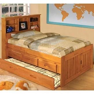 American Furniture Classics 2120-K3-TRUN Librería de capitanes sólidos 3 cajones en cama nido doble Honey Pine, marrón