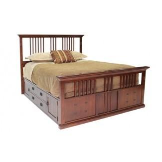 Dormitorio. Cama rústica estilo Capitán, tamaño Queen, con almacenaje ...