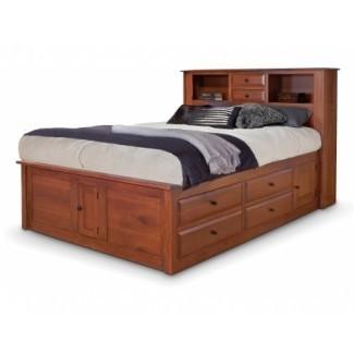 Simplicidad cama Queen Captain's con Cabecera de estantería y ...