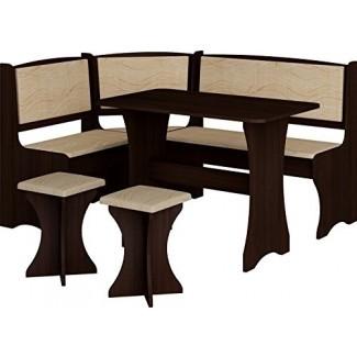 MUEBLES Y ALFOMBRAS MEBLES Juego de mesa de cocina con desayunador, banco de almacenamiento en forma de L con 2 taburetes, color Vange