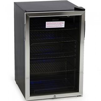 DELLA 048-GM-48197 Mini refrigerador refrigerado empotrado en el centro de bebidas con cerradura- negro / acero inoxidable