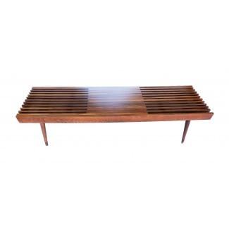 Mid Century Modern danesa extensible banco de listones de madera ...