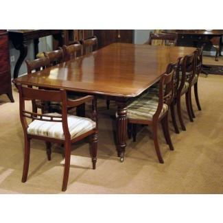 Mesa de comedor extensible de caoba antigua / Asientos 10 a 12