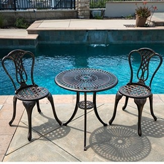 Belleze 3PC Bistro Set Muebles de patio al aire libre Diseño Mesa y silla de aluminio fundido Antiguo, bronce